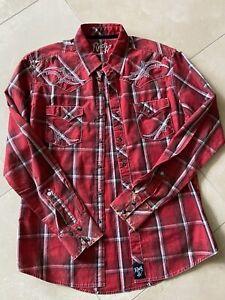 Mens Rock 47 by Wrangler Red Cowboy Long Sleeve Button up Shirt Size Medium