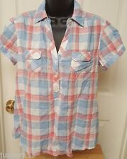 Old Navy NWT Woman's Pinkish Red/Blue/White Plaid Shirt Size M