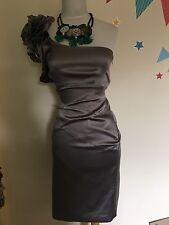 Karen Millen Silk One Shoulder Corsage Wiggle Dress Size 8uk
