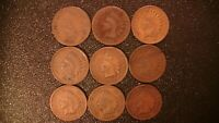 9 PC INDIAN HEAD CENT PENNY LOT SET 1881 1884 1888 1900 1904 1905 1906 1908 1909