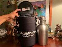 Kegworks Stainless Steel Beer Growler 64 oz Plus Insulated Carry Bag Never Used