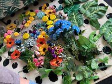 Artificial flowers heads leaves mix Job Lot Bundle Florist DIY wall decor