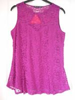 Definitions Purple Lace Sleeveless Top Size 14 BNWT