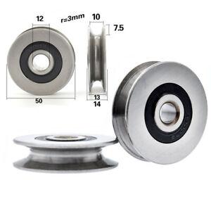 12*50*13mm Metal U Groove Pulley Ball Bearing Wheel Wire Rope Roller Hanging