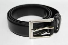 HAWES & CURTIS Men's Black Plain Leather Casual Belt Buckle Size 34 Medium NEW