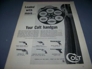 """VINTAGE..1958 COLT HANDGUNS """"LOADED WITH MORE"""" 1-PAGE SALES AD..(860W)"""