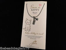 NEW JILZARA SAVE A KITTY I LOVE MY CAT and PAW PRINT CHARM NECKLACE
