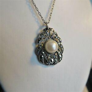 Victorian Pearl & Marcasite Pendant and Silver Chain