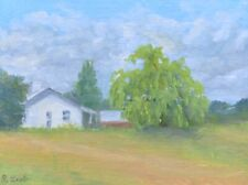 Weeping Willow, Farmhouse, Rural scene,  Original Oil Painting