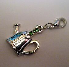 Silver Plated & Green Rhinestone Clip On Charm GARDEN WATERING CAN  (FA79)