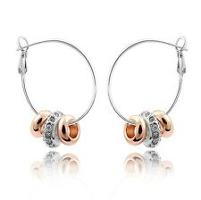 18K White & Rose Gold GP Made With Swarovski Crystal Round Beaded Hoop Earrings