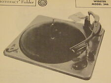 WEBSTER-CHICAGO 346 RECORD CHANGER TURNTABLE PHOTOFACT