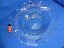 XXL EISCH GLAS SCHALE geschwungene Form mit kreisrunden Lufteinschlüssen 40cm !