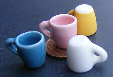 1:12 Scale 4 Mix Colour Tapered Coffee Mugs Dolls House Ceramic Accessory Set G
