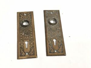 Pair Of Antique Eastlake Victorian Brass Copper Door Plates