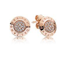 Authentic Pandora 280559CZ Pandora Signature Stud Earrings Rose Collection