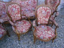 Salon époque Louis Philippe voltaire canapé tissu origine old lounge armchair