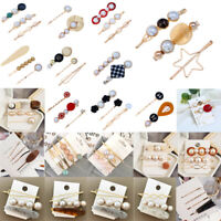 Women Crystal Pearl Set Hair Clips Snap Barrette Stick Hairpin Hair Accessories