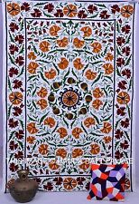 Cotton Handmade Uzbekistan Bedspread Embroidered Floral Suzani Bed Cover Ethnic