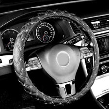 1x Universal Car Steering Wheel Cover Faux Leather Black/White 36-38cm 14'' 15''