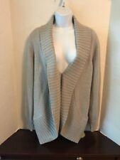 ANN TAYLOR LOFT LOUNGE Women's Gray Long Open Front Cardigan Sweater L