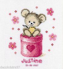 VERVACO  0011946  Tableau de naissance  Petite souris rose  Point de Croix