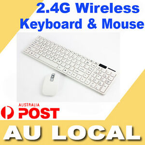 White 2.4 GHz Cordless Wireless Keyboard and Optical Mouse USB Receiver AU