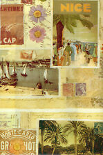 """Vintage French Post Card Travel Poster Gift Wrap - Wrapping Paper - 24"""" x 6'"""