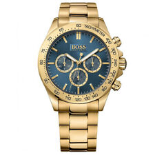 BRAND NEW HUGO BOSS HB1513340 WITH TAGS MENS CHRONOGRAPH GOLD BLUE DIAL WATCH