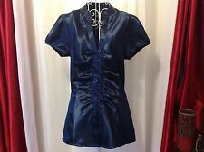 PINUP GIRL 1940's Midnight blue Satin blouse NWOT Sz SMALL