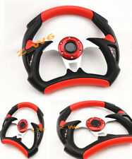PVC Universal JDM 6 Hole Bolt Lug 320mm Racing Steering Wheel W/ HORN BUTTON