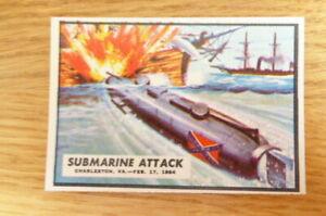 A&BC GUM CARD CIVIL WAR NEWS #59 SUBMARINE ATTACK 1965  NEAR MINT