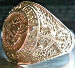 """""""Rare"""" Vintage United States """"Naval Air Force"""" 10K Yellow Gold Ring Size 10.5"""