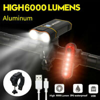 6000Lm 2X L2 LED MTB Road Bicycle Front Lamp Bike Headlight Headlamp Taillight