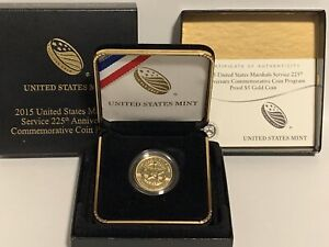 2015 US Marshals Service 225th Anniversary Gold Proof $5 Dollar Gold Coin