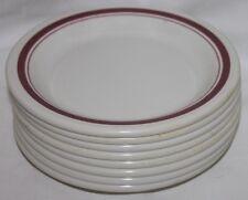 "Vintage Prolon Ware Cafeteria Bread Plate 7.5"" Melmac Lot 8 Maroon trim K"