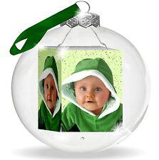 Edle Glas-Weihnachtskugel mit Foto bedruckt. Weihnachtsgeschenk für Oma und Opa