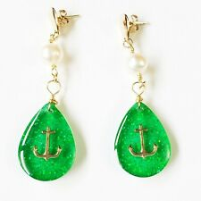 Earrings Handmade Resin Anchor Clear Ocean Green Goldfilled Gift for Her