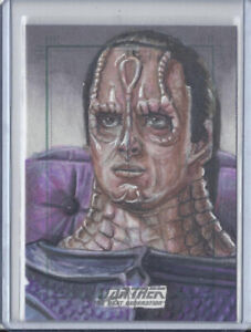 Star Trek TNG Original Sketch Card of Cardassian Alien by Adam & Bekah Cleveland