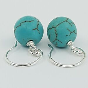 Drop Dangle Earrings Lapiz Blue, Turquoise & Rose Quartz Sterling Silver Hooks
