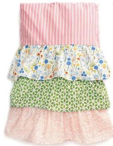 NEW TWIN MATILDA JANE Bedskirt,Pink&Green Stripe&Floral Tiered Ruffle Bed Skirt