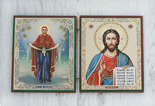 Wood Diptych Travel Icon - Jesus, Virgin Mary