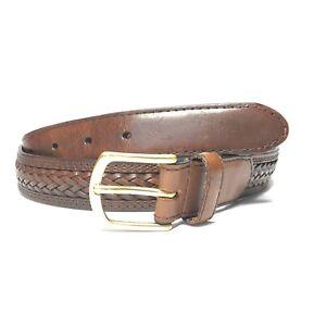 Men's Brown Braided Leather Dress Jeans Belt Gold Tone Buckle SZ 42