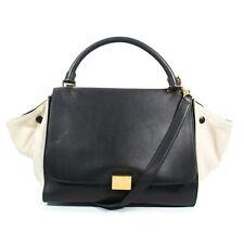 Celine - Trapeze Bag with Shoulder Strap - Black Leather Beige Canvas