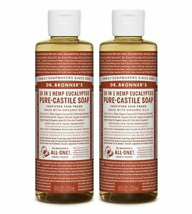 Dr Bronner`s Organic Eucalyptus Castile Liquid Soap 237ml - Vegan (Pack of 2)