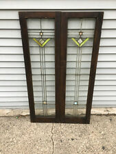 "Antique Art Deco Stained Leaded Glass Bookcase Cabinet Doors / Windows 45"" x 13"""