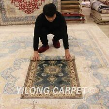 YILONG 2.5'x4' Blue Handwoven Silk Vintage Carpets Antistatic Area Rugs LH939B