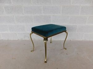 Vintage Paw Foot Solid Brass Stool / Vanity Bench