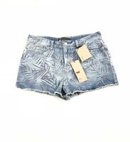 Levi's Blue Print Faded High Rise Cotton Denim Cutoff Shorts Juniors 11 NWT