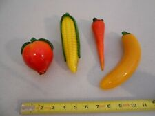 Lot Of 4 Pieces Vintage Glass Vegetables / Fruits Banana Carrot Corn Peach Htf